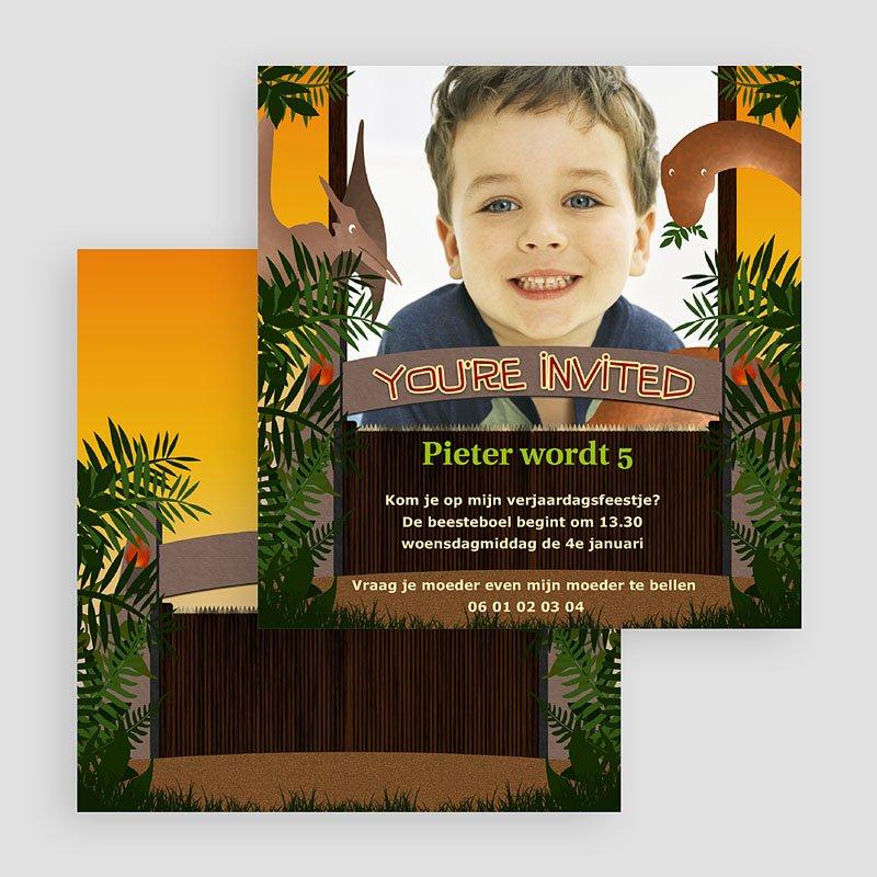 Verjaardagskaarten jongens - Dinosaurus uitnodiging 20707 thumb