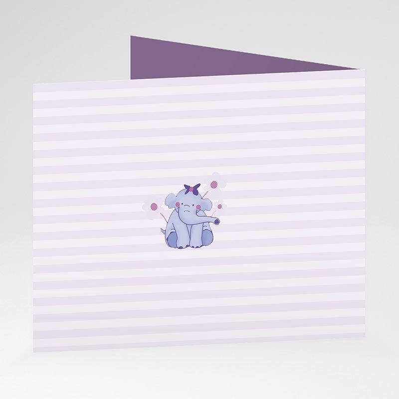 Geboortekaartje meisje - Olifantje met strik en bloem 20916 thumb
