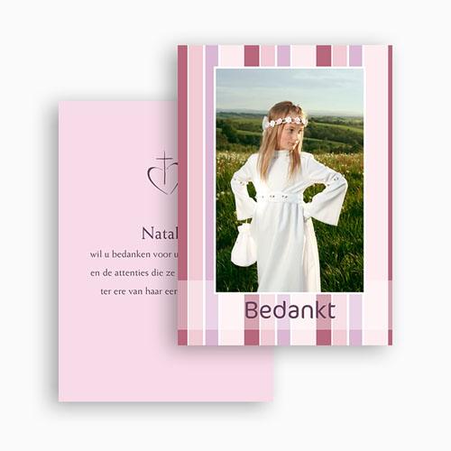 Bedankkaart communie meisje Snoeproze communie gratuit
