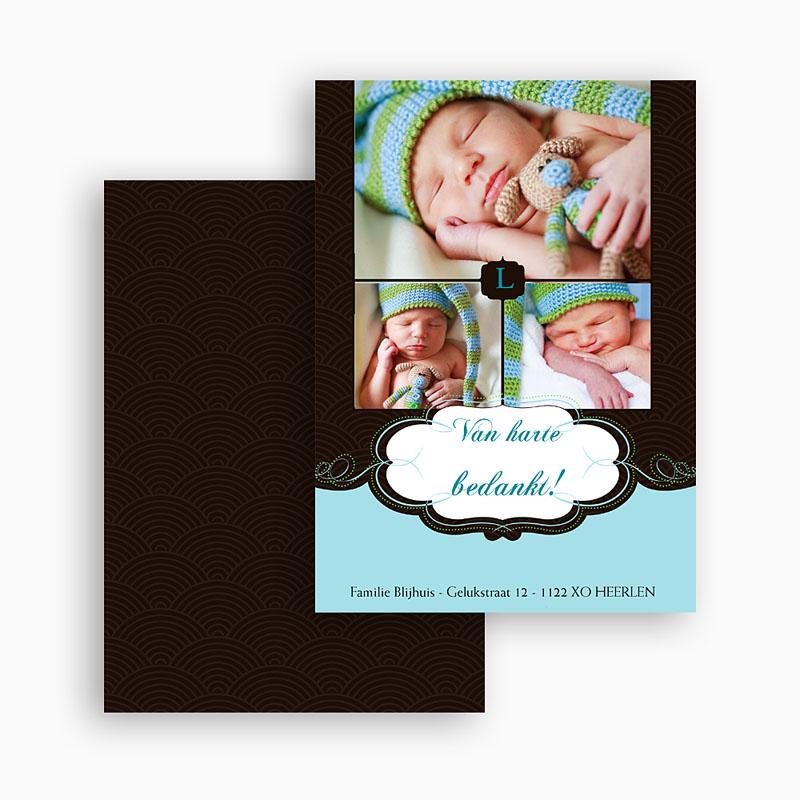 Bedankkaartje geboorte zoon Onze bonbon, zoon gratuit
