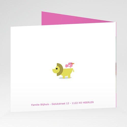 Geboortekaartje meisje Roze dierentuin gratuit