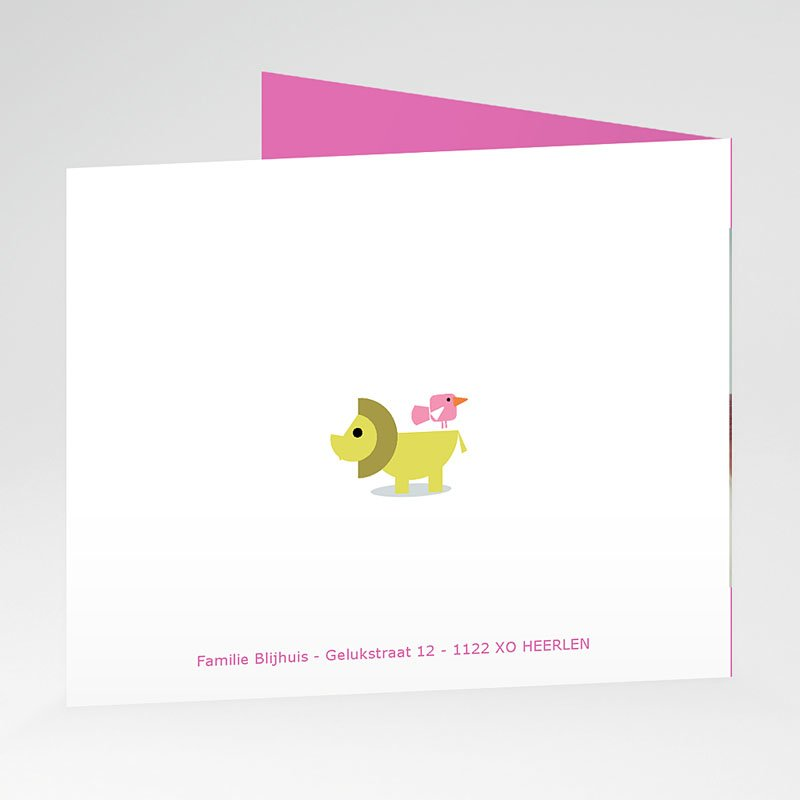 Geboortekaartjes Meisje Roze dierentuin gratuit