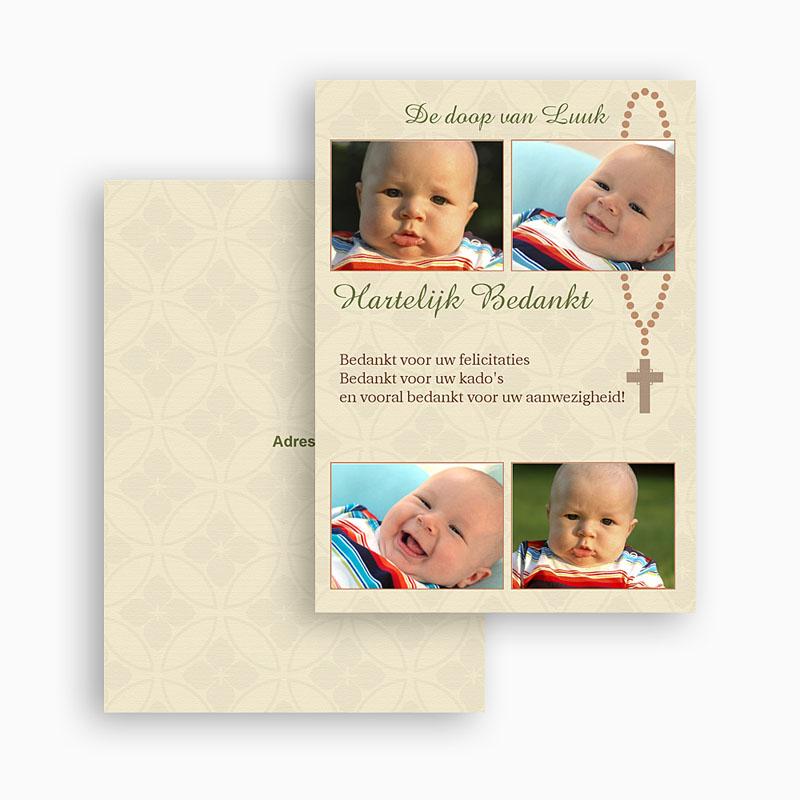 Bedankkaart doopviering jongen - Beeldverhaal met rozenkrans 21075 thumb