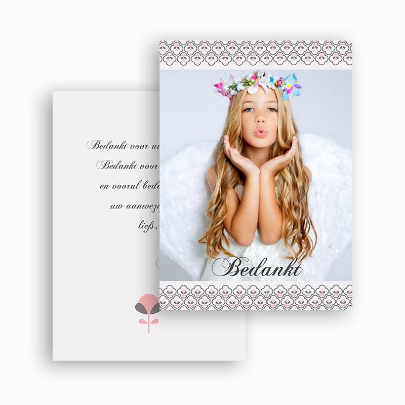 Bedankkaart communie meisje - Klavertje vier communie 21157 thumb