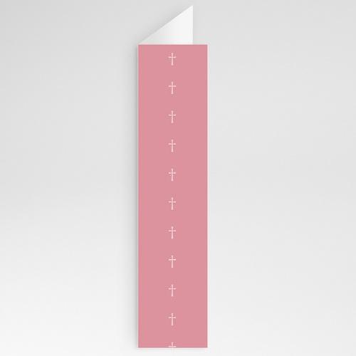 Menukaart communieviering Roze rozenkrans en kruis gratuit
