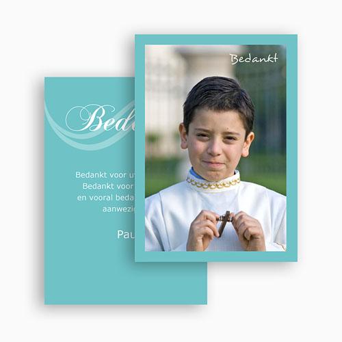 Bedankkaart communie jongen - Turquoise en bruidsuiker 21200 thumb