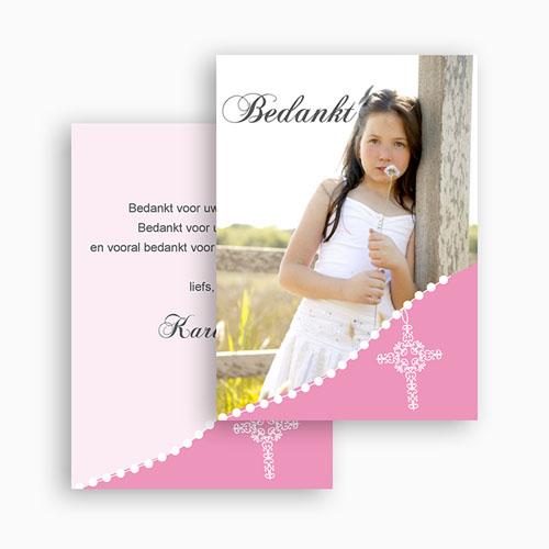 Bedankkaart communie meisje - Roze om de hoek 21261 thumb