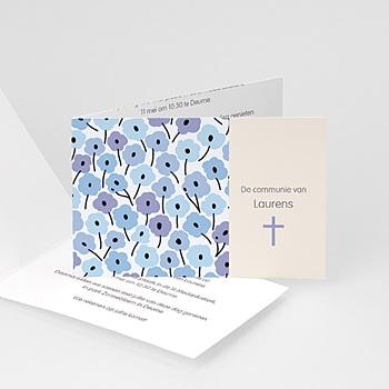 Uitnodiging communie jongen Blauwe bloemen