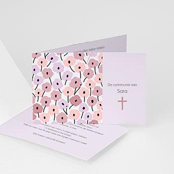 Uitnodiging communie meisje - bloemrijke communie - 7