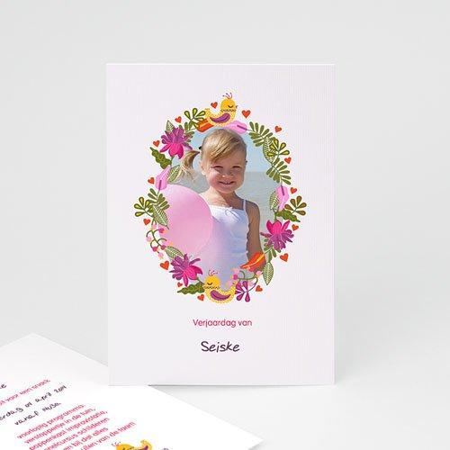Uitnodigingen Verjaardag Meisje Portrait fleuri