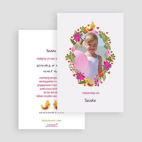 Uitnodigingen Verjaardag Meisje Portrait fleuri gratuit