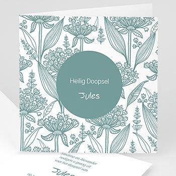 Doopkaartje jongen - Invitation Florale - 1