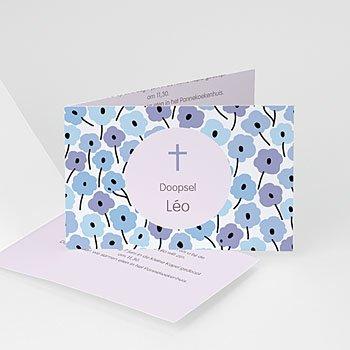 Doopkaartje jongen - Blauwe bloemetjes - 1