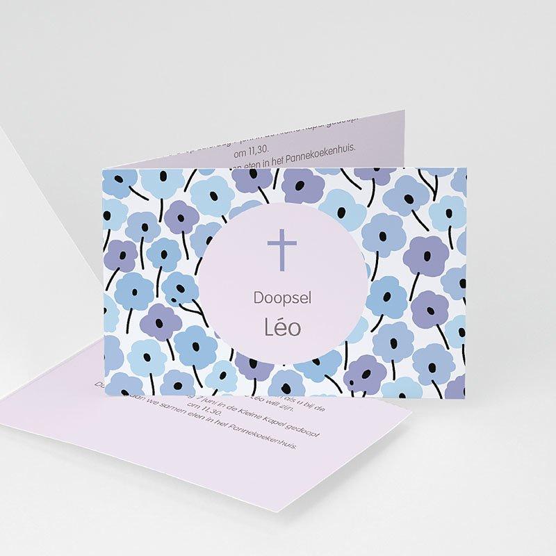 Doopkaartje jongen - Blauwe bloemetjes 22116 thumb