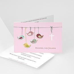 Doopkaartje meisje - Roze en vogels - 1