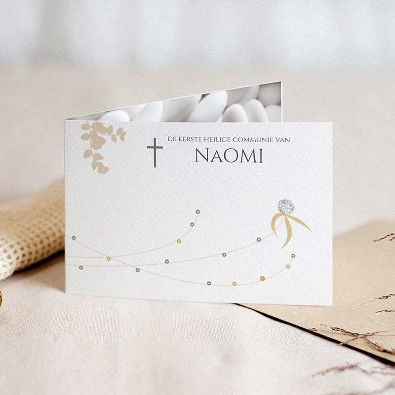Uitnodiging communie meisje - suiker communiekaartje 22164 thumb