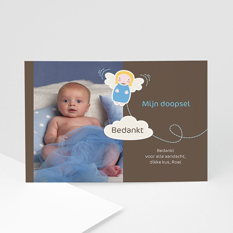 Bedankkaart doopviering jongen - doopkaart 4480 22384 thumb
