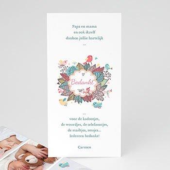 Bedankkaartje geboorte dochter - vroege vogels - 1