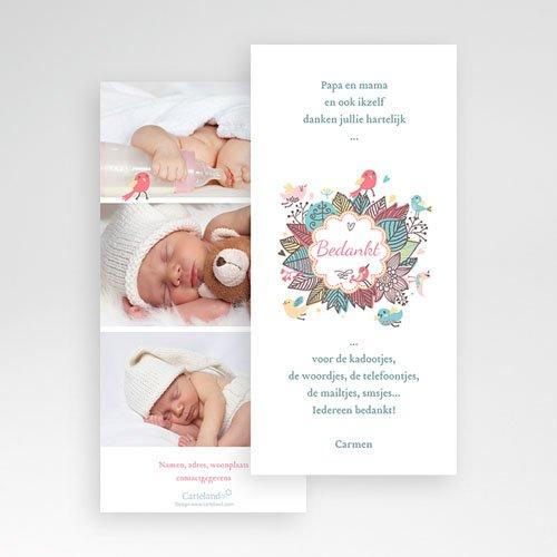 Bedankkaartje geboorte dochter - vroege vogels 22487 thumb