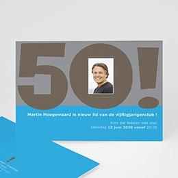 Uitnodiging Anniversaire adulte 50 jaar in blauw