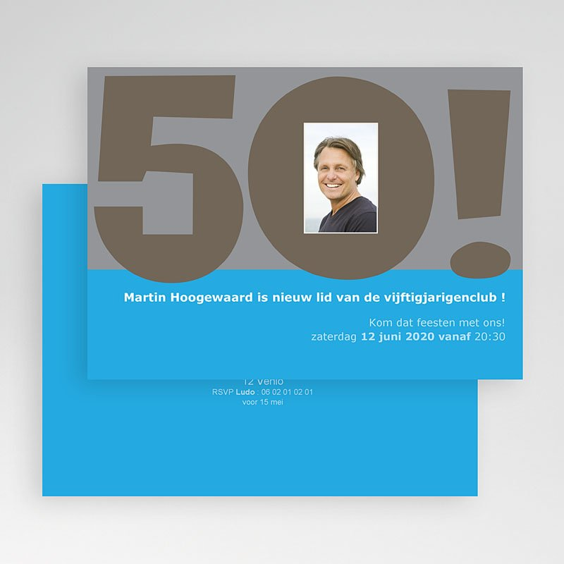 Verjaardagskaarten volwassenen - 50 jaar in blauw 23623 thumb