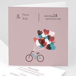 Vintage trouwkaarten - Op de fiets naar liefde - 1