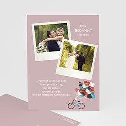 Bedankkaartjes Huwelijk Op de fiets naar liefde