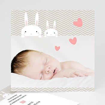 Geboortekaarten, universeel - Hartje konijn - 1