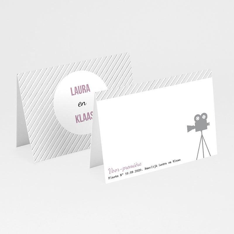 Personaliseerbare plaatskaartjes huwelijk Bioscoopkaartje