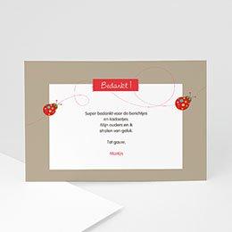Bedankkaartje geboorte dochter Lieveheersbeestjes voor een baby
