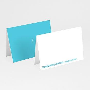 Plaatskaartjes doopviering - Blauw rozenkrans en kruis - 1