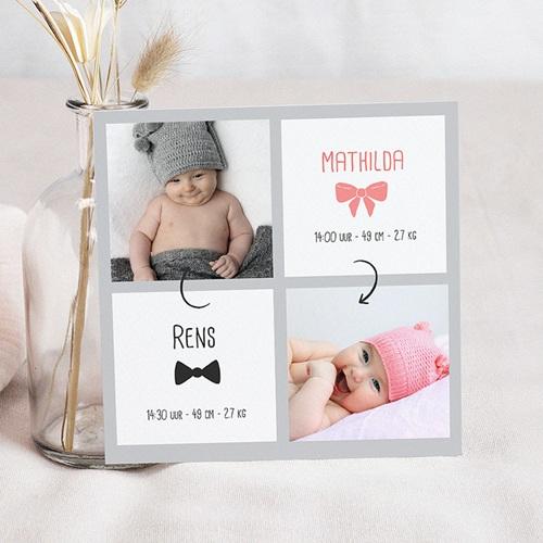 Geboortekaartjes Tweeling vierluik