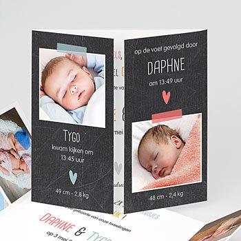 Geboortekaartjes tweelingen - Tweeluik tweelingen - 1