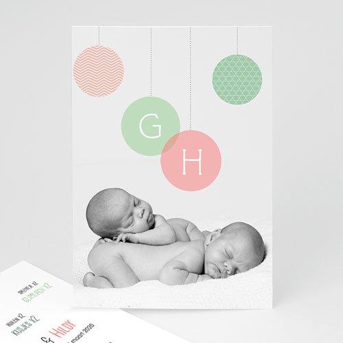 Geboortekaartjes tweelingen - Pastelbollen 24810 thumb