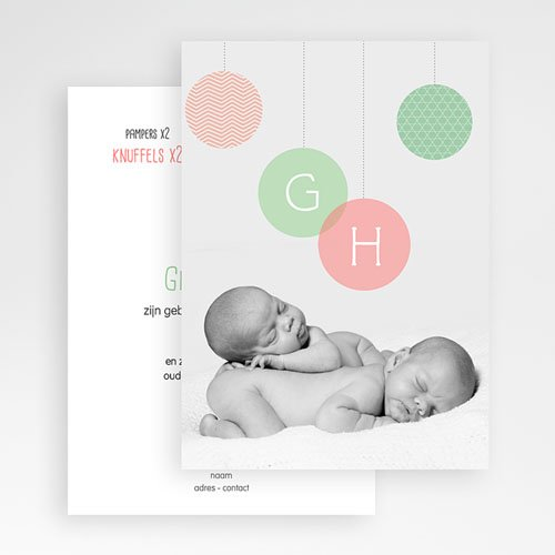 Geboortekaartjes tweelingen - Pastelbollen 24812 thumb