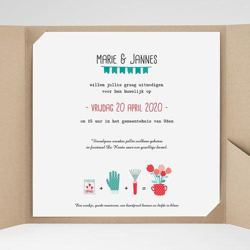 Vierkante Trouwkaarten - een pot liefde 37078 thumb