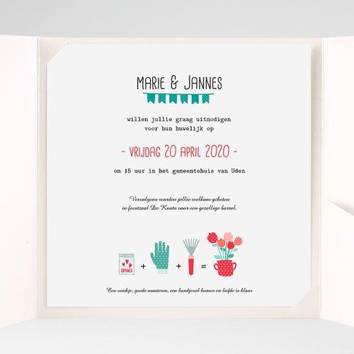 Vierkante Trouwkaarten - een pot liefde 37079 thumb