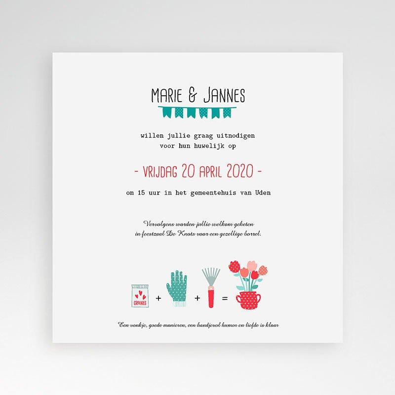 Vierkante Trouwkaarten - een pot liefde 37081 thumb