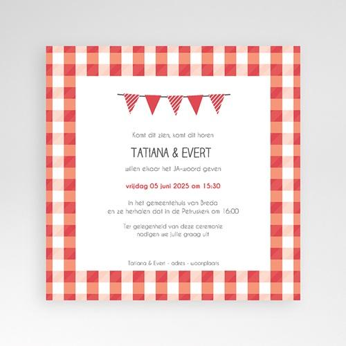 Vierkante Trouwkaarten - Vichy tegeltjes 37309 thumb