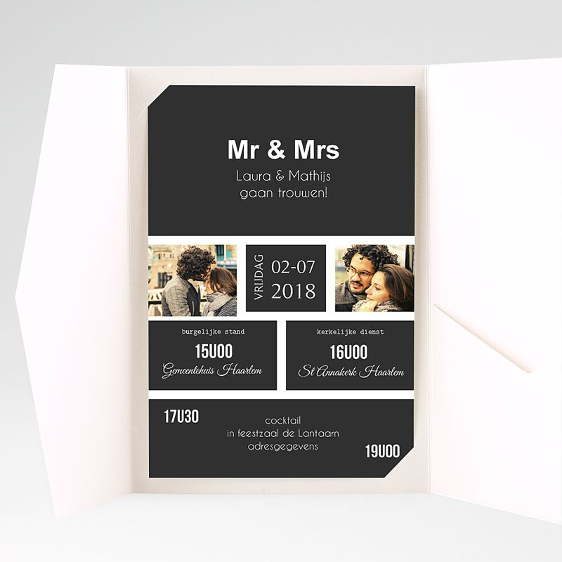 Rechthoekige trouwkaarten Ouderwets modern pas cher