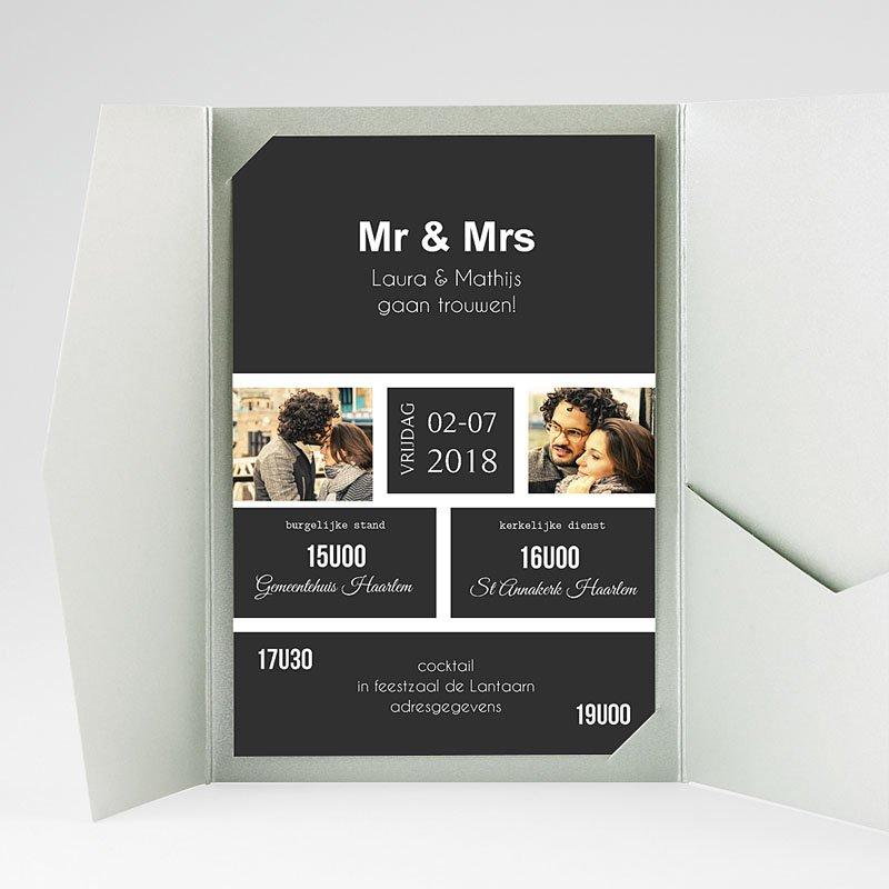 Rechthoekige trouwkaarten Ouderwets modern gratuit