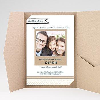 Rechthoekige trouwkaarten - familieboodschap - 0