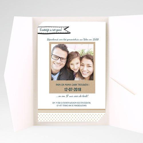 Rechthoekige trouwkaarten familieboodschap pas cher