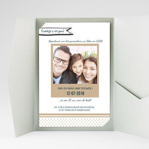 Rechthoekige trouwkaarten familieboodschap gratuit