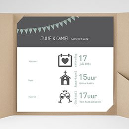Vierkante Trouwkaarten decoratief trouwkaartje