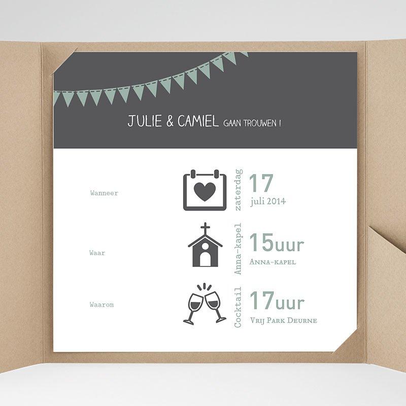 Vierkante Trouwkaarten - decoratief trouwkaartje 37756 thumb