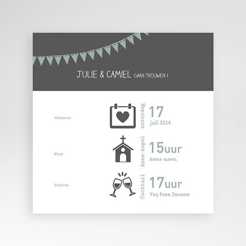 Vierkante Trouwkaarten - decoratief trouwkaartje 37759 thumb