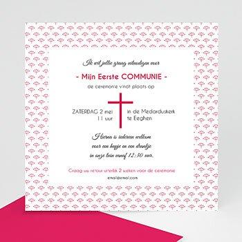 Uitnodiging communie meisje - Bloemen in mei - 0