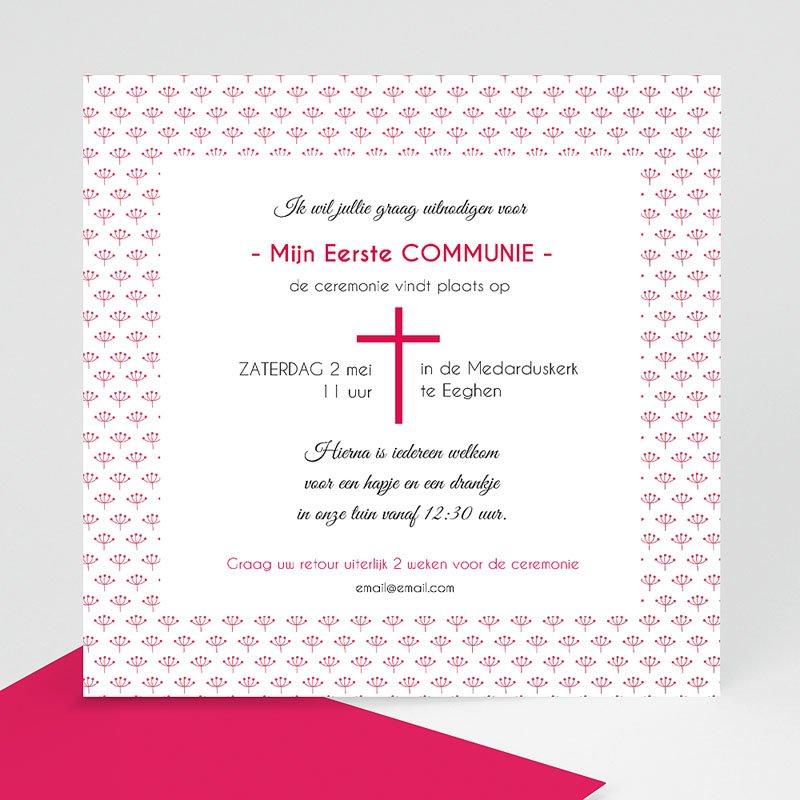 Uitnodiging communie meisje - Bloemen in mei 40509 thumb