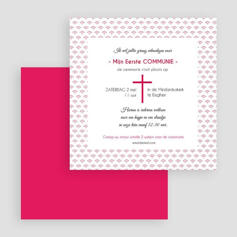 Uitnodiging communie meisje - Bloemen in mei 40511 thumb